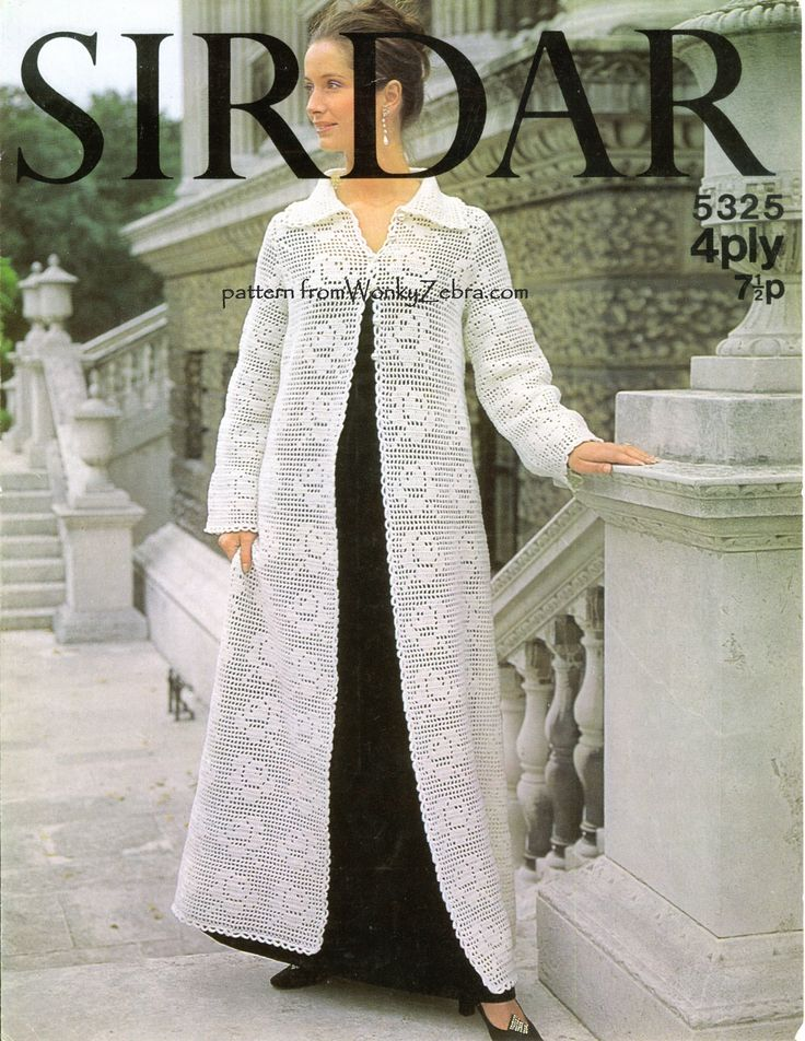 WZ4291. A gorgeous vintage seventies pattern in crochet  for a long coat or robe; perfect for evening wear or weddings.There are roses worked all over the design, in  filet crochet lace . A Sirdar pattern as PDF WZ391 $3 from WonkyZebra.com