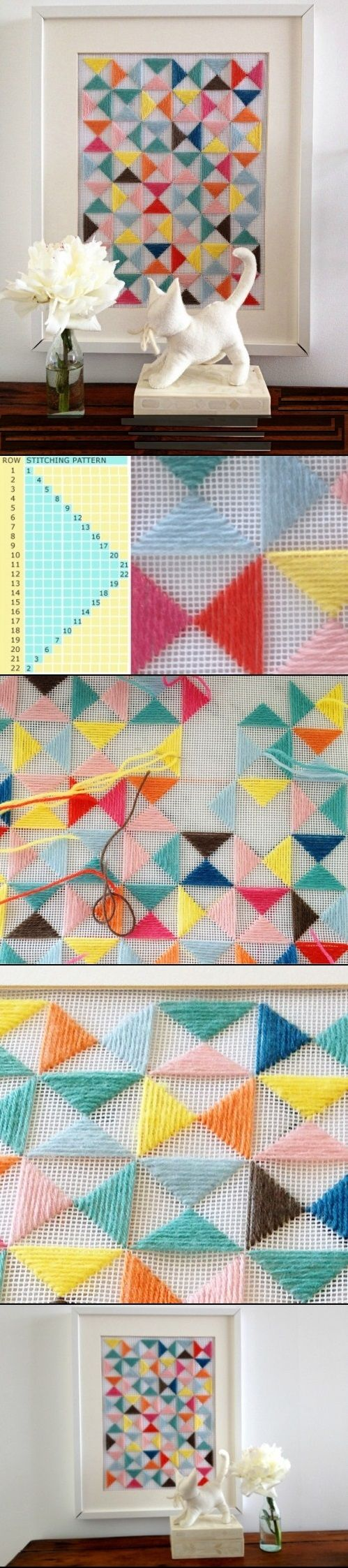 DIY Geometric Embroidery for wall art. I would like to try with tshirts into a quilt pattern