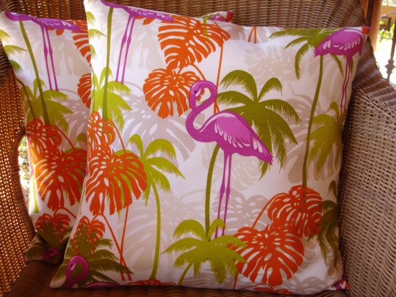 Flamingo Outdoor Pillow Covers Flamingo Decor by KaysGeneralStore, $32.99