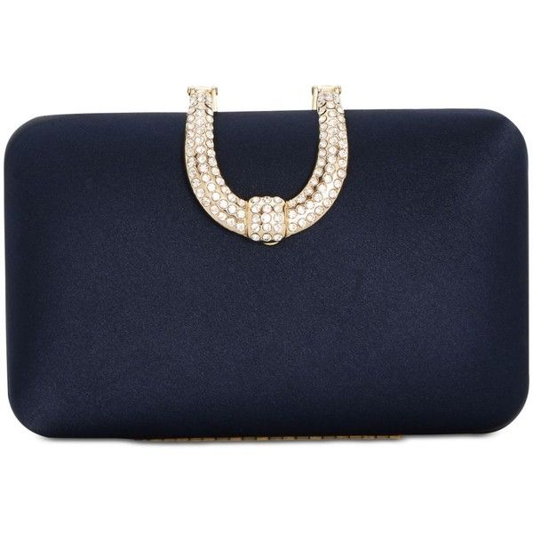 INC Danyele Satin Clutch, Created for Macy's ($80) ❤ liked on Polyvore featuring bags, handbags, clutches, navy, navy handbags, embellished handbags, buckle purses, navy purse and navy blue purse