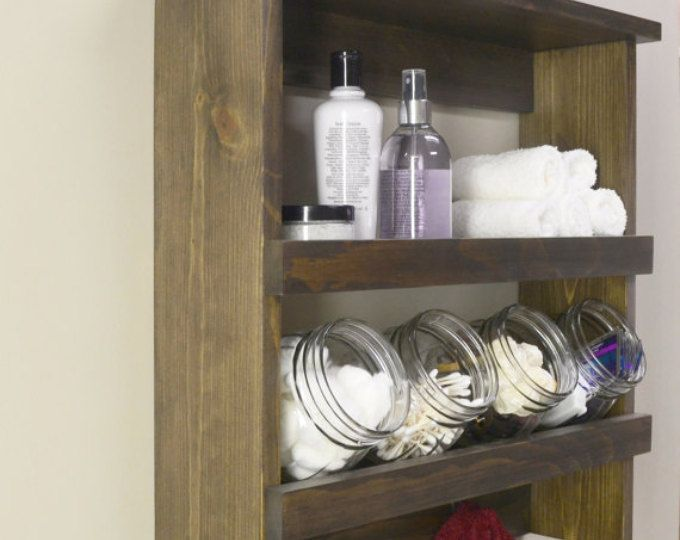 Schön Rustic Bathroom Shelf With Glass Jars Rustic Decor Storage Shelf Bathroom  Organizer Farmhouse Decor Bathroom Shelves