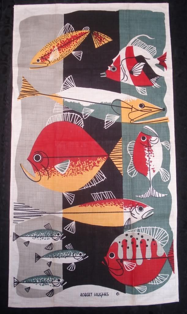 vintage mid century modern art Tea Towel fish