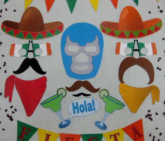PDF -  Cinco de Mayo photo booth props/decorations/craft - printable DIY. $3.95, via Etsy.