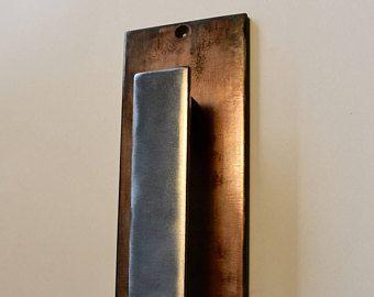 Copper Patina Steel Door Pull Barn Door Handle Barn Door Handles Door Hardware Door Handles