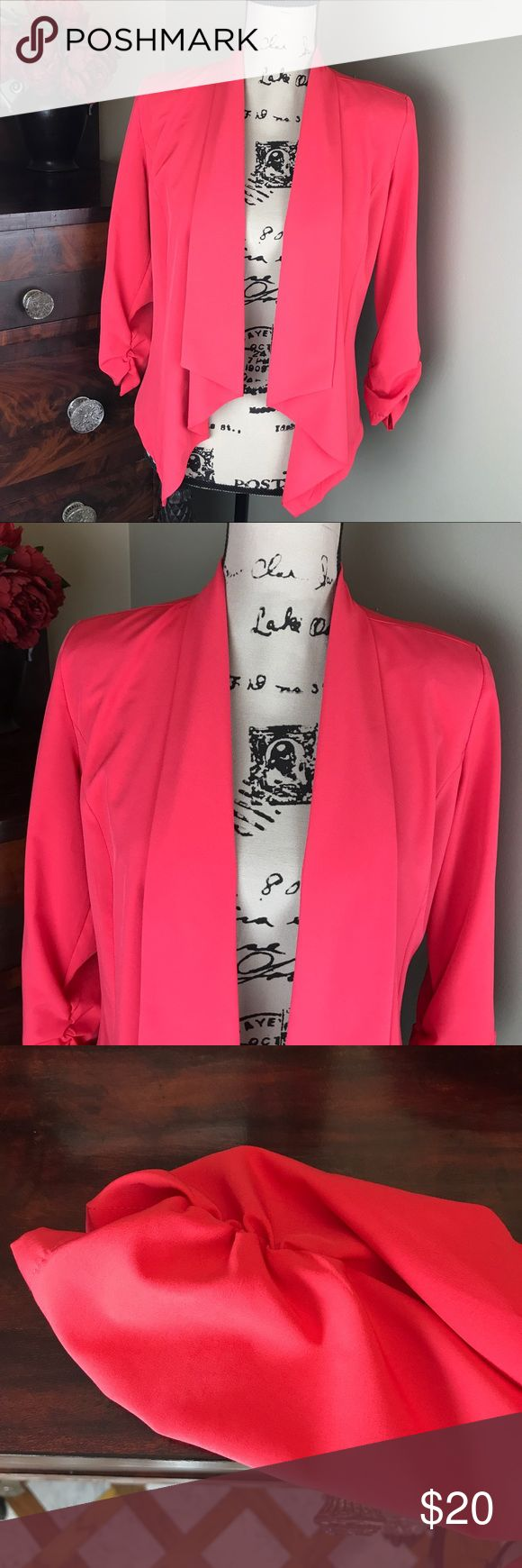 Bobeau Coral Jacket S Excellent condition. 3/4 sleeves. Ruched sleeves. Fabric drapes in the front. Waterfall hemline. Bobeau Jackets & Coats