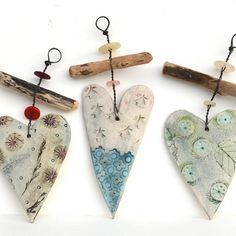 Ceramic Heart And Driftwood Hangers - CoastalHome.co.uk: Driftwood