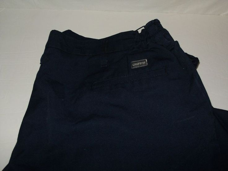 Lot 3 Unifirst Men's Work Pants 45/46X 32 Inseam Navy Blue Flexible Waist A6 #Unifirst #Pants