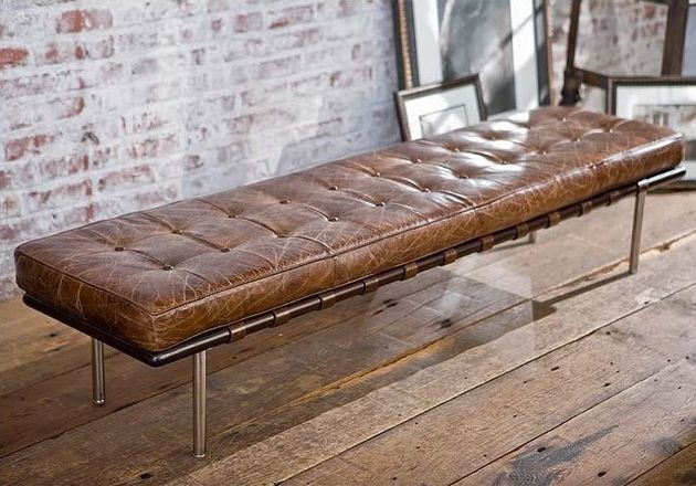 Tufted gallery bench in vintage cigar brown leather by Regina Andrew. $1,872.50