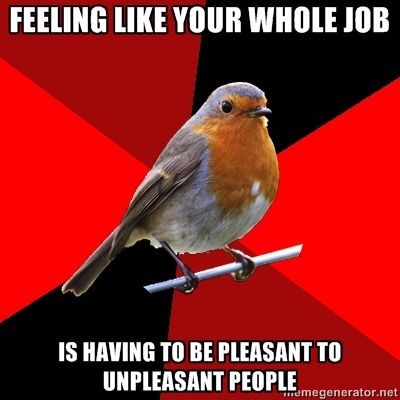 "[Image Description: Background is several triangles in a circle like a pie alternating from true red, scarlet and black. A robin is sitting on his perch looking to the right.Top Text: ""FEELING LIKE YOUR WHOLE JOB""Bottom Text: ""IS HAVING TO BE PLEASANT TO UNPLEASANT PEOPLE""]  Some days at customer service, man."