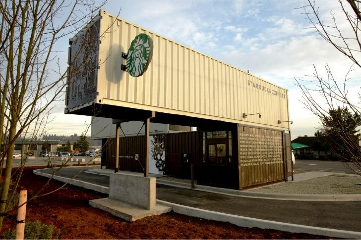 Starbucks is using recycled shipping containers for LEED store design.