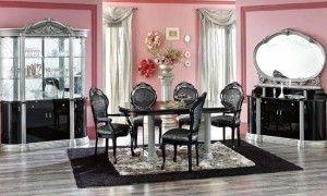 Столовая: - роскошный Столовая с розовым краска Идея и Черного коврик и роскошный номер обеденный комплект Средняя версия