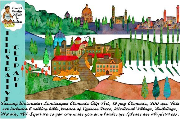 Tuscany Watercolor Landscape ClipArt by FrankiesDaughtersDesign on @creativemarket