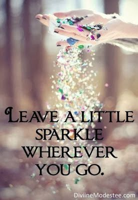 I got my sister Pamela a card with this exact front cover once. Pretty Sweet! Leave a little sparkle wherever you go.
