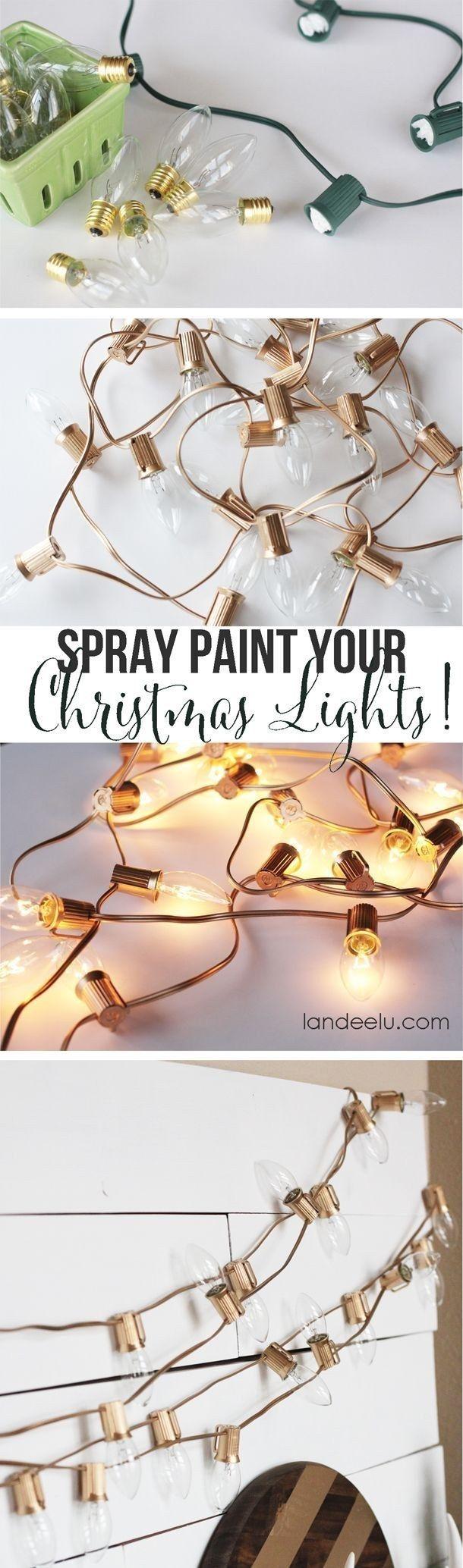Un spray para pintar lámparas verdes festivas de dorado y obtener un aspecto súper refinado. | 19 Maneras súper acogedoras de utilizar cadenas de luces en tu casa