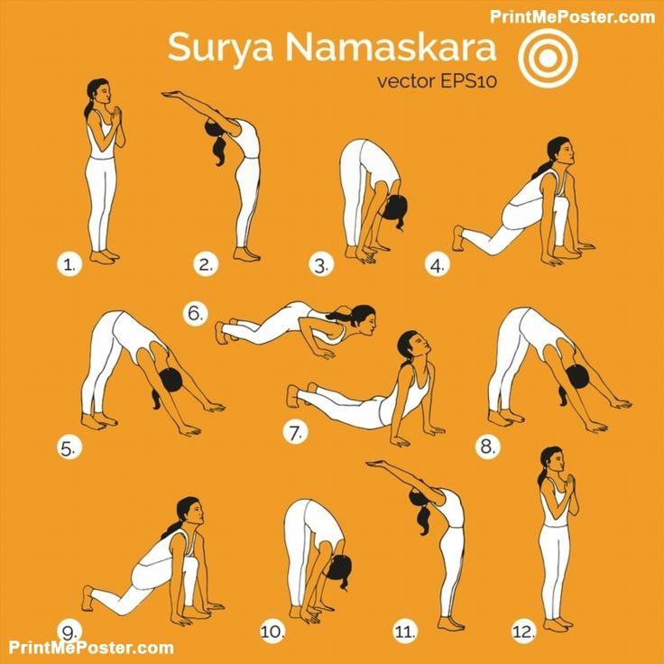 Poster of Vector yoga illustration. Surya Namaskara. #poster, #printmeposter, #mousepad, #tshirt