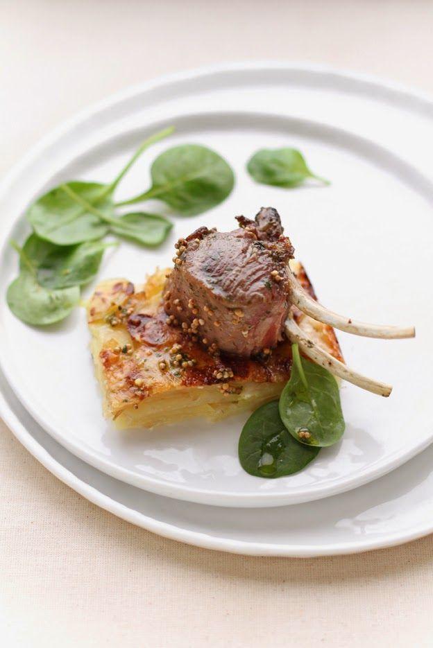 - VANIGLIA - storie di cucina: Agnello alla senape e menta su mattonella di patate e cipolle caramellate