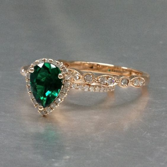 ONLY the Emerald Engagement ring Rose gold with Diamond,wedding ring,14k,6x8mm Pear Cut,Green Treated Emerald Gemstone Promise Band Ring
