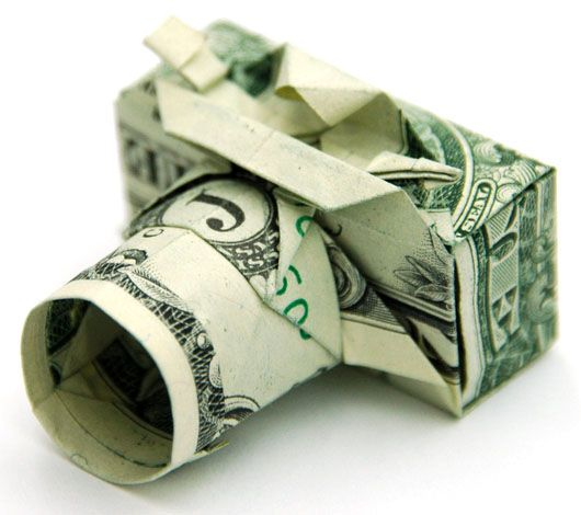 Origami camera made from a one dollar bill. cool!