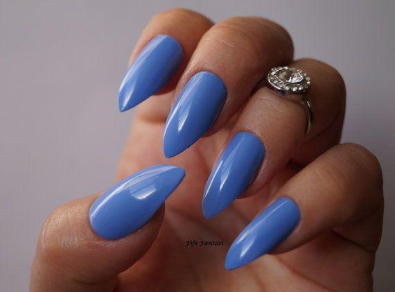 Blue stiletto nails Nail art Nail designs by FifeFantasiNails