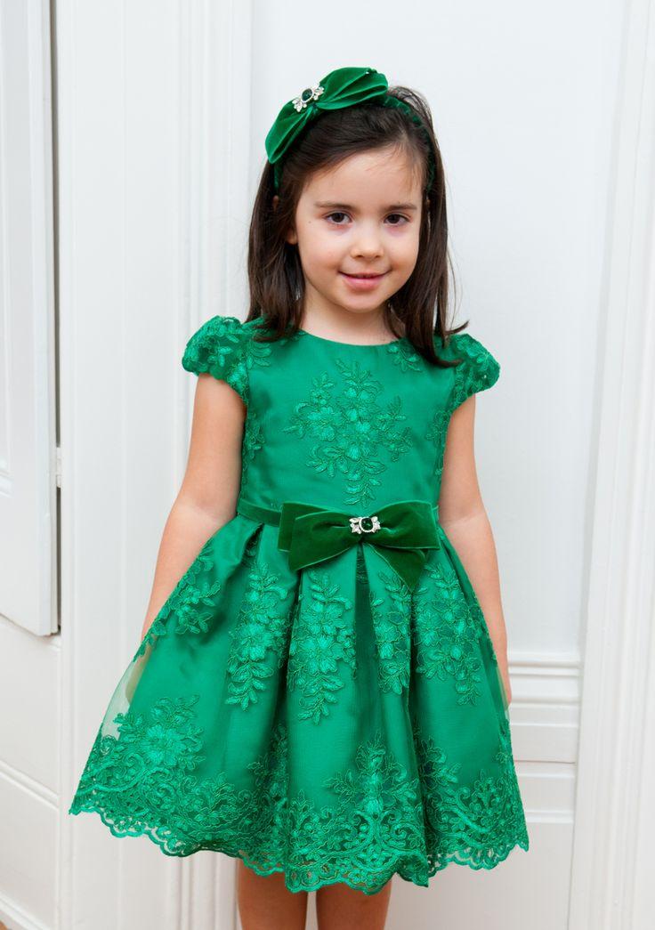 EMERALD GREEN FLORAL PRINCESS DRESS