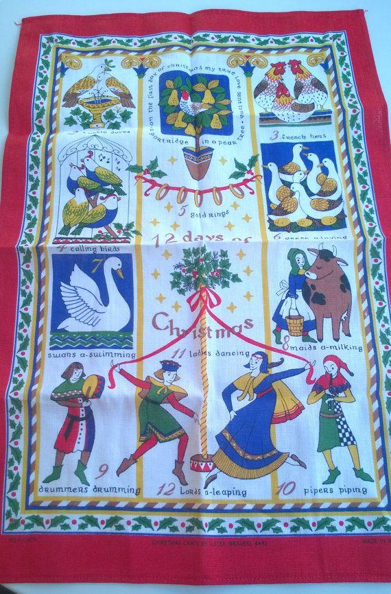Vintage Linen Tea Towel 12 Days Of Christmas Seventies