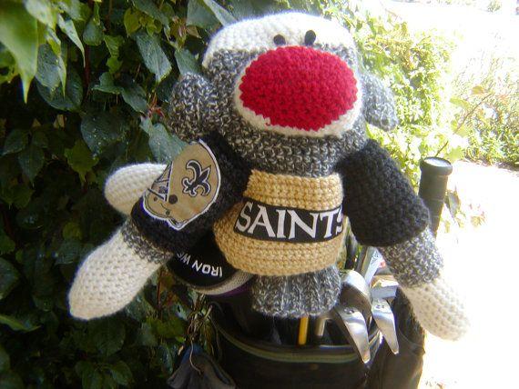 Sock Monkey Golf Club Cover  New Orleans Saints by pillowtalkswf, $40.00