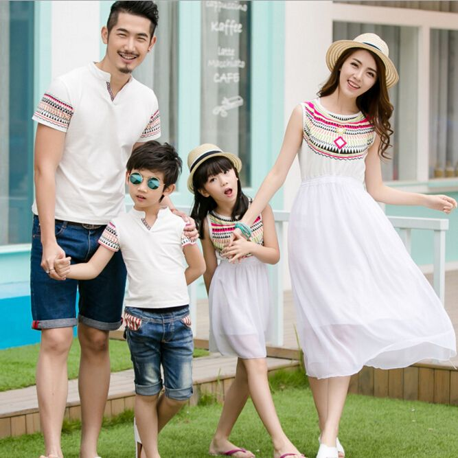 Family Matching Outfits Mother and Daughter Sleeveless Chiffon Dress Fashion Matching Family Clothing Father Son T shirt, CP14