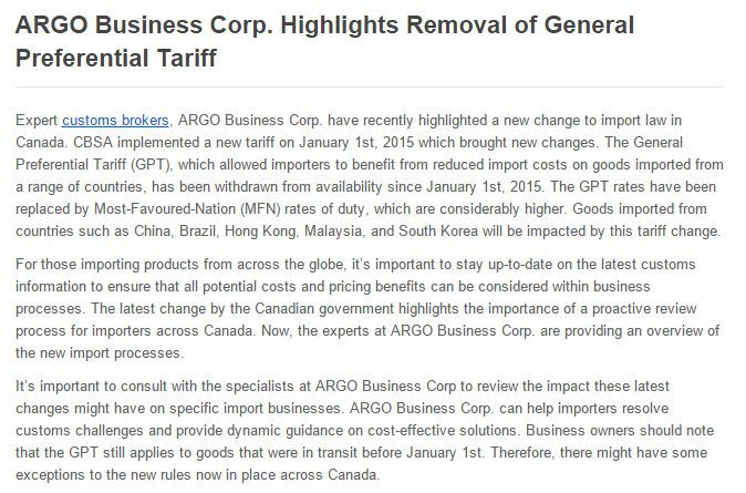 ARGO Business Corp. have recently highlighted a new change to import law in Canada. CBSA implemented a new tariff on January 1st, 2015 which brought new changes.