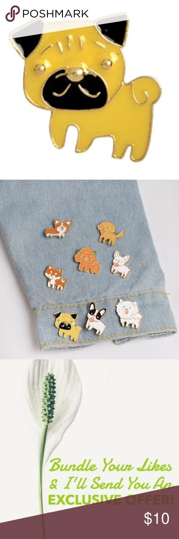 Tan Enamel Pug Puppy Pin Quantity Available: 3 Accessories