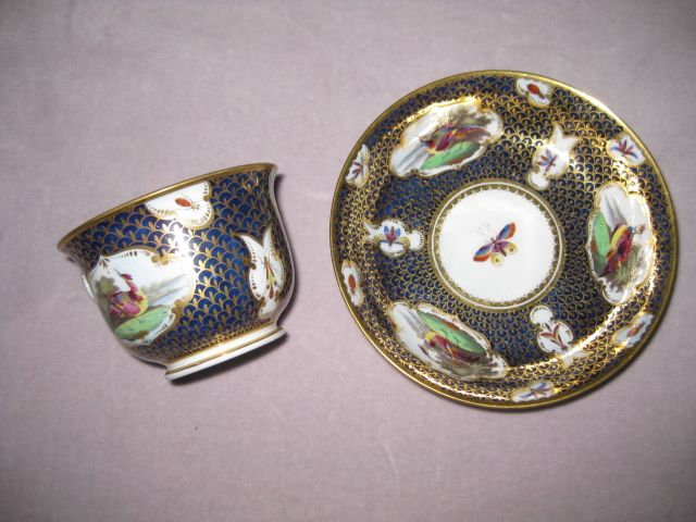 A fine quality Worcester  BFB cup and saucer. painted on a blue ground with gilt scale like decoration and with panels of birds and insects.  Circa  1810  BFB impressed