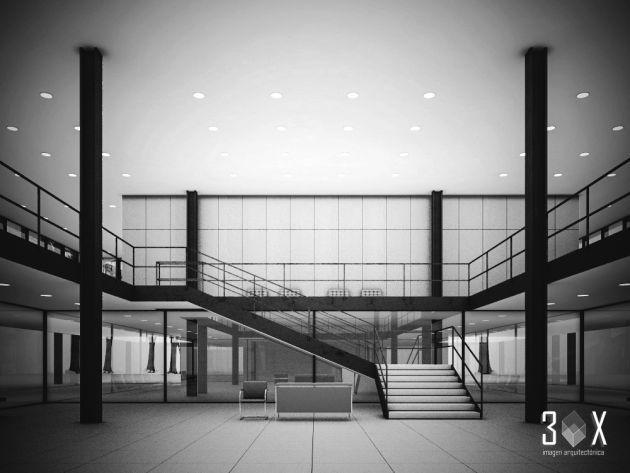 Edificio de la Administración para Ron Bacardi en Tultitlán, México 1957-1961. Arq. Ludwig Mies van der Rohe (1886-1969). Bacardi Administration Building, Tultitlan,  1961.