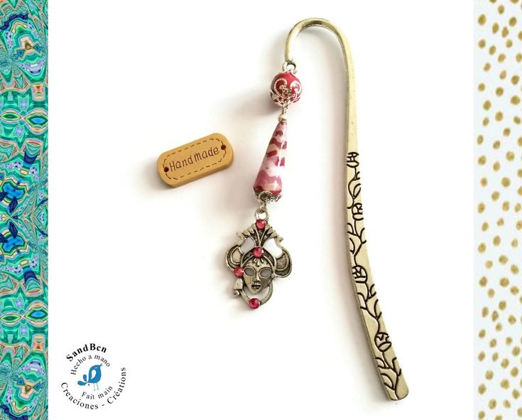 Cadeau Femme Marque Pages Bijou Signet Cadeau Fête des Mère Venise Masque de Carnaval Vieux Rose Perle en Papier Faite Main Cadeau Fait Main