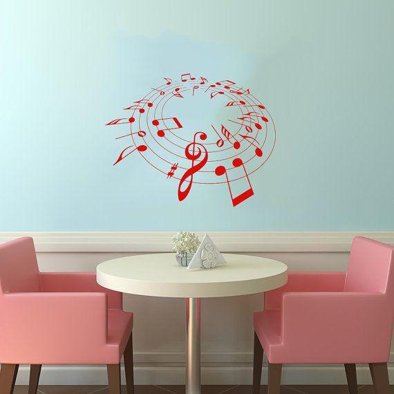 Nota note onde musica musicale Treble Clef Housewares parete vinile Decal Sticker Design Interior Decor Camera da letto SV4077 di musica Studio di registrazione