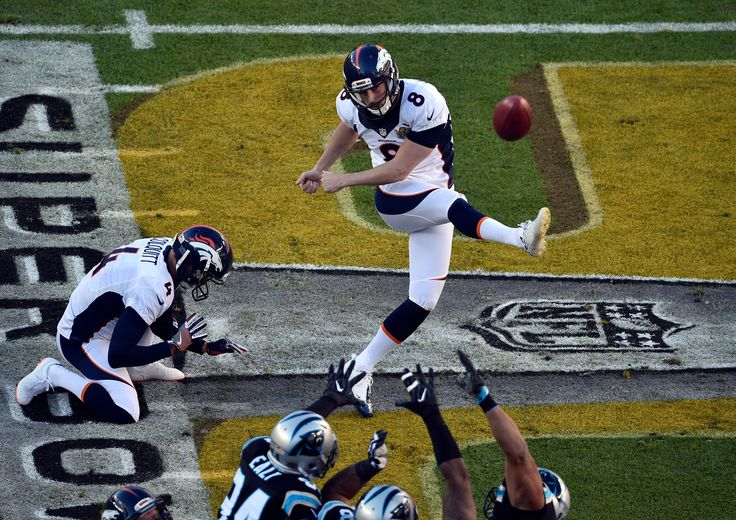 . Brandon McManus (8) of the Denver Broncos kicks a field goal in the first quarter scoring the Broncos first 3 points. The Denver Broncos played the Carolina Panthers in Super Bowl 50 at Levi's Stadium in Santa Clara, Calif. on February 7, 2016. (Photo by Helen H. Richardson/The Denver Post)