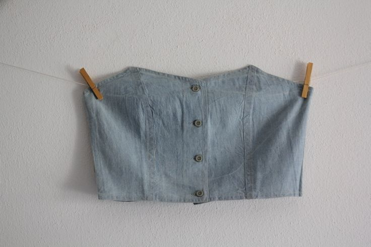 Vintage Denim Corset Jeans Washed Blue Corset Sleeveless Crop Top 80's Clothing Womens Fashion by CakeNumber9 on Etsy
