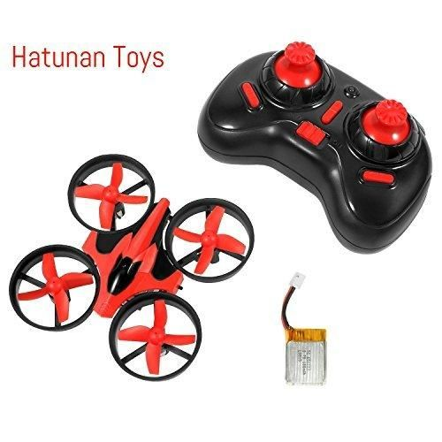 Hatunan NH-010 Mini Quadcopter Drone with Headless Mode RTF Helicopter UFO Drone with GYRO 2.4G 4CH 6 Axis AR Drone Flying RC Copter with LED Lights Remote Control and Wind Propeller - Red