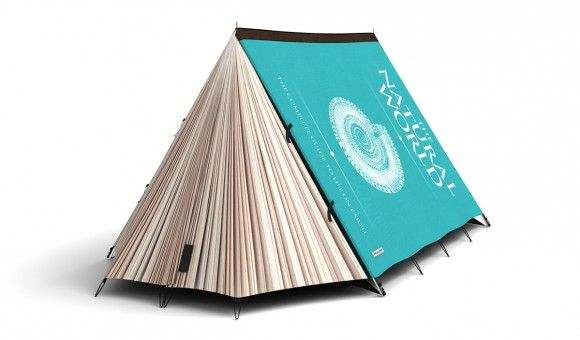 A tent designed to look like a book. Gives a whole new meaning to getting into a good book...