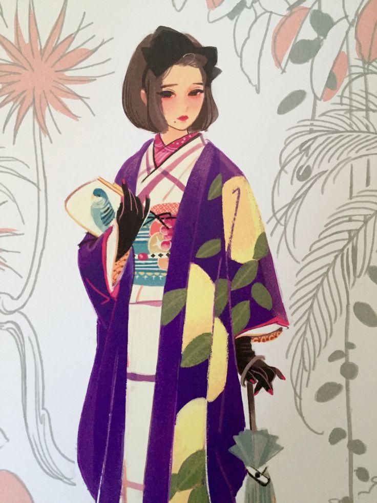 Рисунок девушки в кимоно картинки