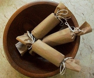 Firestarters - toilet paper roll, dryer lint, newspaper, brown paper, string (Put with chocolate bars, marshmallows and graham crackers for a fun summer gift)