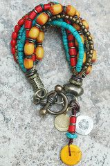 Bracelet | Charm | Nepalese | Turquoise | Red | Yellow | XO Gallery | XO Gallery