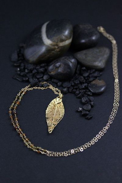 Gold dipped Evergreen leaf with Tourmaline and 14kt gold fill chain