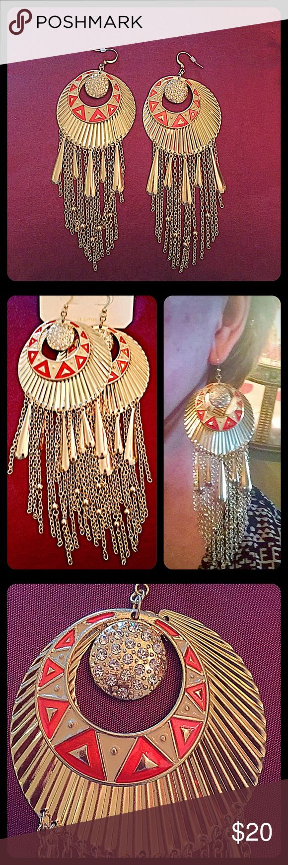 """30% OFF BUNDLES✨Global Chic Chandelier Earrings✨ These earrings are definite show stoppers! They're a very festive, boho & global pair of earrings to wear. Goldtone, with hanging fringe elements. The rounded upper part has a larger shell-like shape w/orange & cream enamel finishing, and the smaller circle has rhinestones. Fishhook style. Length=5.5"""", Width=2.5"""". NWT. Analie Jewelry Earrings"""