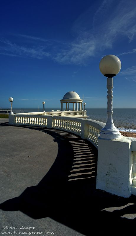 The King George V colonnade that graces the seafront in the East Sussex town of Bexhill-on-sea, England
