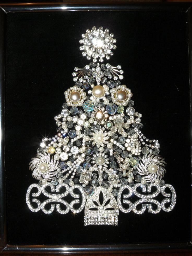 Vintage Jewelry Christmas Tree - Rhinestones Galore