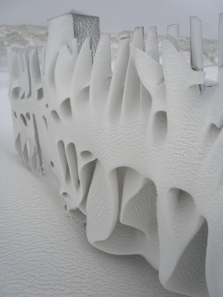 A fence this morning after a snowy night on Terschelling, the Netherlands