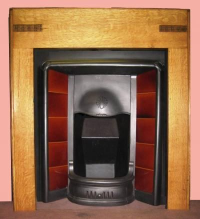 Antique 1930s Art Deco Oak Surround