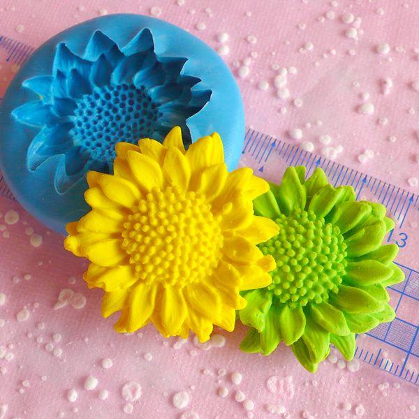 Girasol Flor (40mm) Mini Molde flexible silicona de MiniatureSweet por DaWanda.com