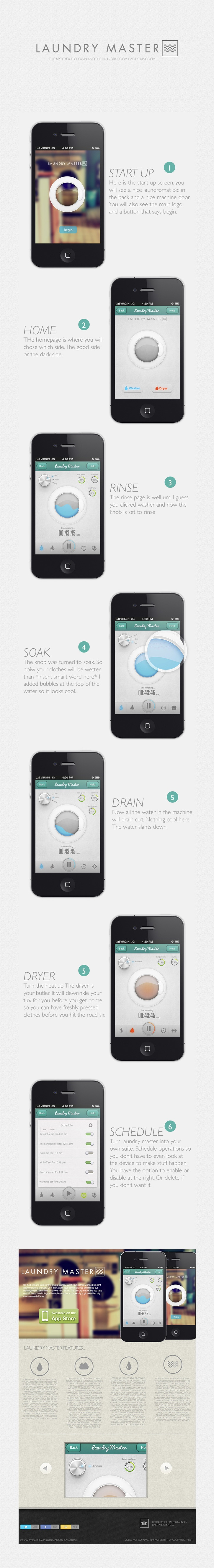 Laundry Master App - iOS  ***  This is an app concept I developed. I drew up a design scheme. This project may or may not be done. I am thinking of forming a team of engineers and devs to do this.  ***   by Zahir Ramos, via Behance