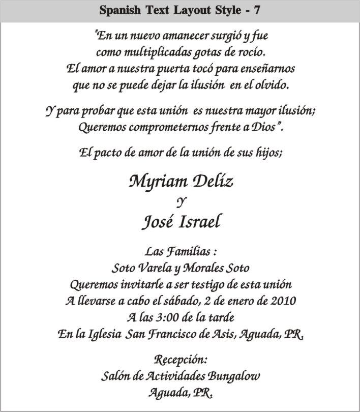 cinderella wedding invitations in spanish | spanish text layout 7 spanish text layout 8 spanish text