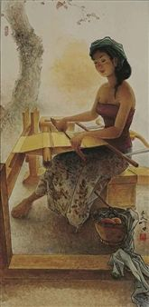 Weaving Girl By Lee Man Fong